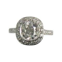 1.36 Carat Cushion Diamond, GIA Certified I, VS2 in Platinum Halo Ring Mounting