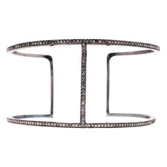 1.36 Carat Diamond Modern Black Cuff Bracelet in Black Oxidized Sterling Silver