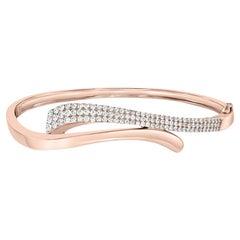 1.36 Carat Diamond Rose Gold 14K Bangle