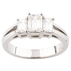 1.36 Carat Emerald Cut 3-Stone Diamond 18 Karat White Gold Engagement Ring