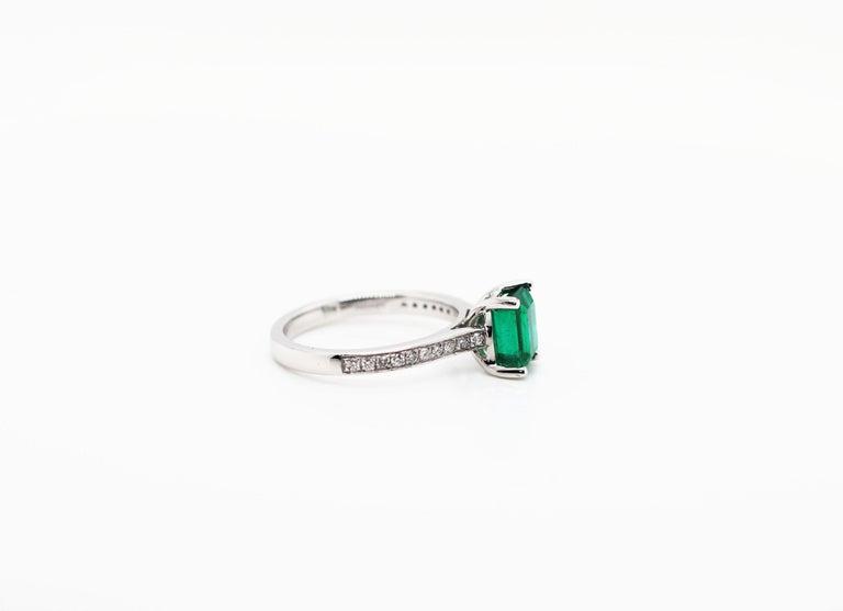 Women's 1.36 Carat Emerald Cut Emerald and Diamond Platinum Engagement Ring For Sale