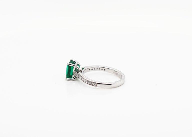 1.36 Carat Emerald Cut Emerald and Diamond Platinum Engagement Ring For Sale 2