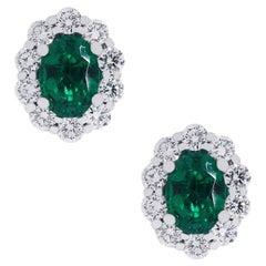 1.36 Carat Emerald Earrings