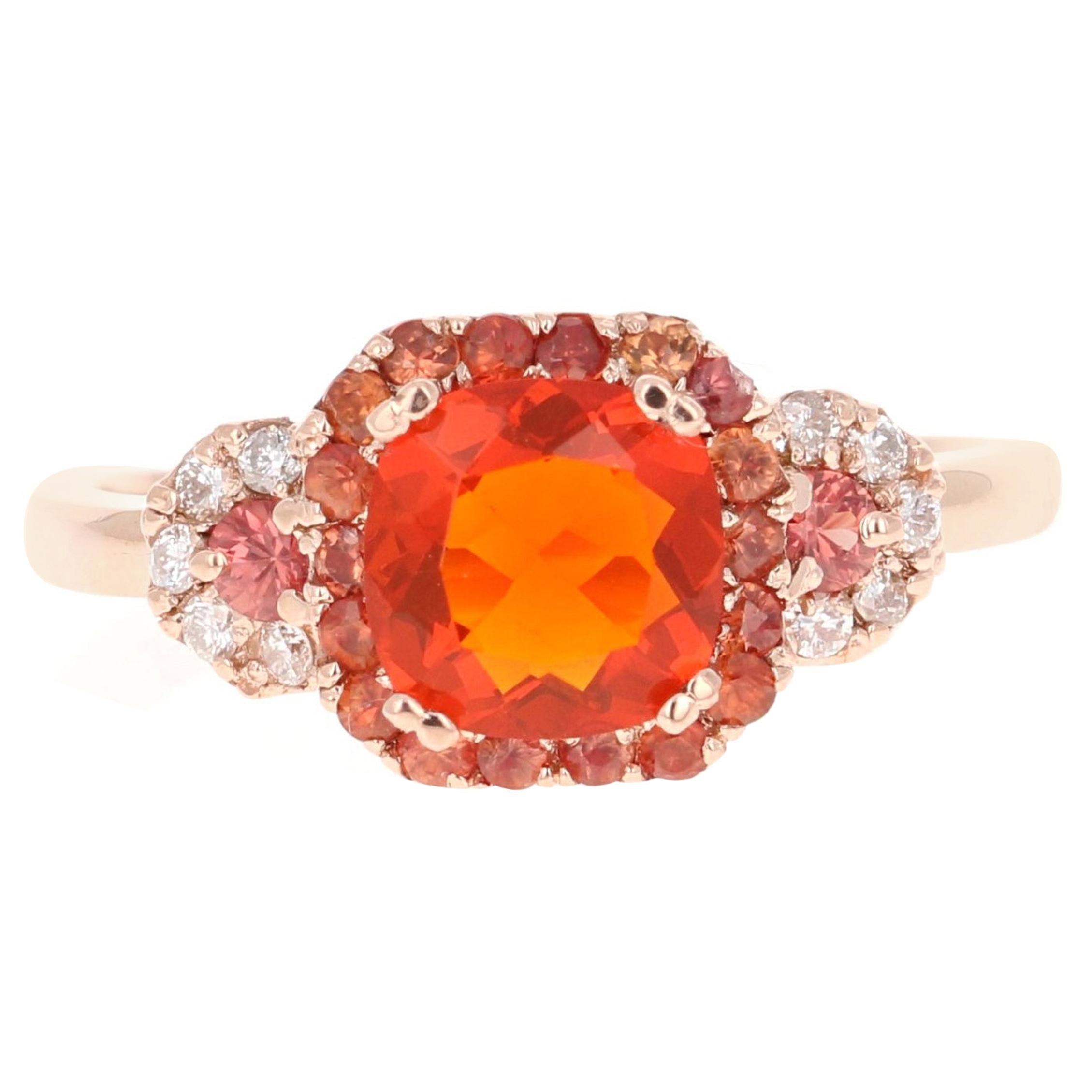 1.36 Carat Fire Opal Sapphire Diamond Rose Gold Engagement Ring