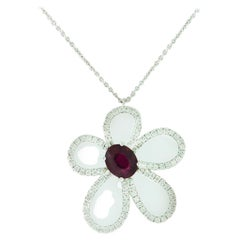 1.36 Carat Floral Ruby Diamond Necklace GIA Certified Natural 18 Karat, 2.01 Ct
