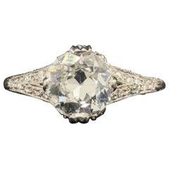 1.36 Carat Harry Winston Diamond Platinum Engagement Ring, Circa 1950