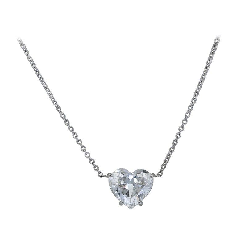 1.36 Carat Heart Shape Diamond Solitaire Pendant Necklace For Sale