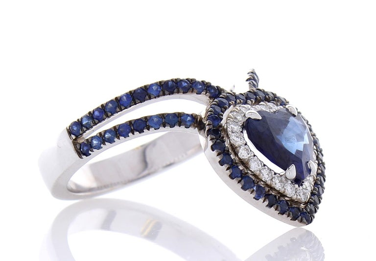 1.36 Carat Heart Shaped Blue sapphire & Diamond Cocktail Ring In 18K White gold For Sale 2