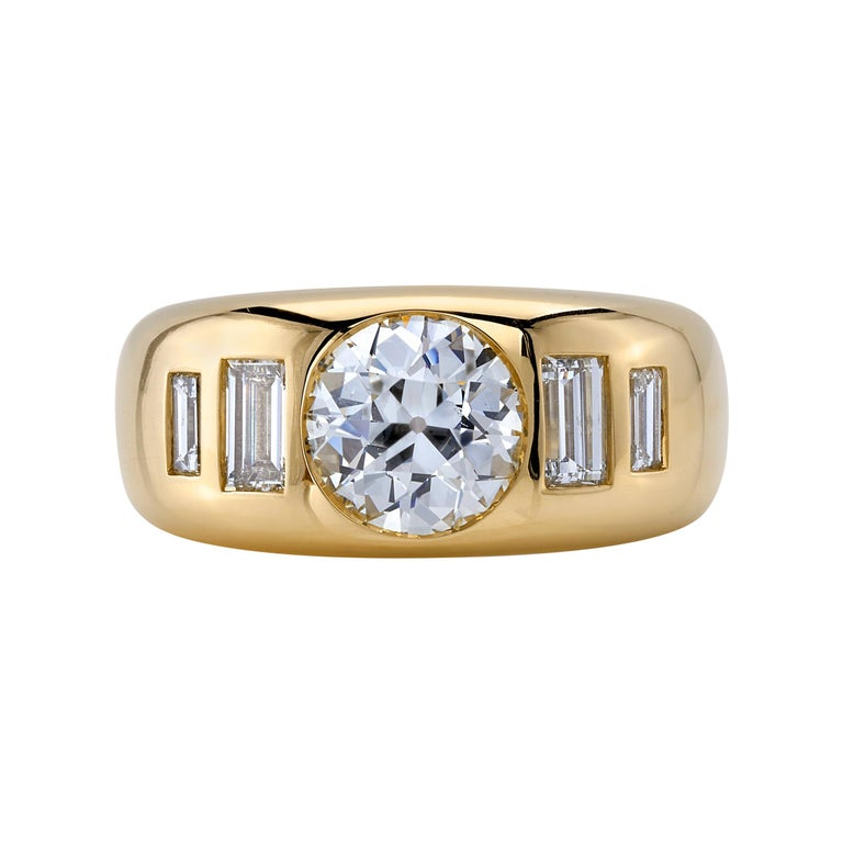 1.36 Carat Old European Cut Diamond Set in a Yellow Gold Domed Engagement Ring