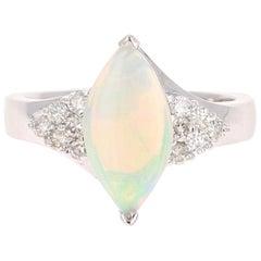 1.36 Carat Opal Diamond 14 Karat White Gold Ring