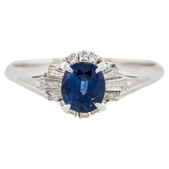 1.36 Carat Oval Cut Sapphire Diamond Cocktail Ring Platinum in Stock