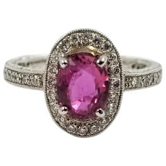 1.36 Carat Oval Pink Sapphire Halo Ring