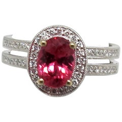 1.36 Carat Oval Pink Spinel and .35 Carat Diamonds 18 Karat White Gold Ring