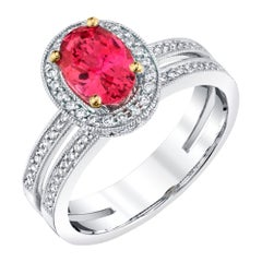 1.36 ct. Hot Pink Spinel, Diamond Halo 18k White Gold Engagement Band Ring