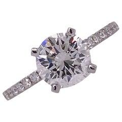 1.36 Carat Round Brilliant Diamond Ring GIA H/VVS1 18 Karat White Gold