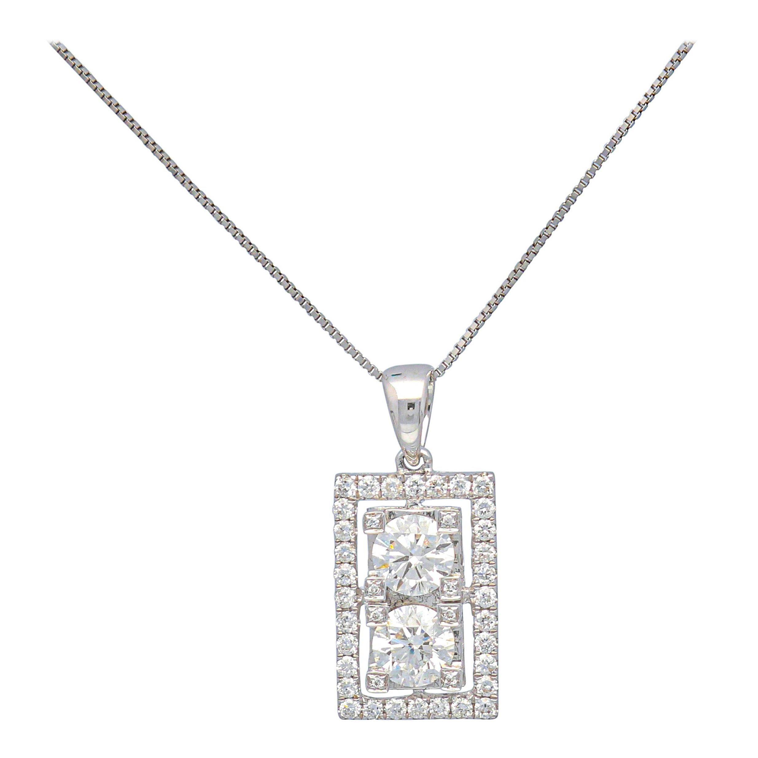1.36 Carat Round Diamond 18k White Gold Pendant