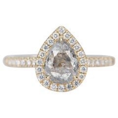 1.36 Carat Salt and Pepper Diamond with Halo 14 Karat Yellow Gold Ring AD2104