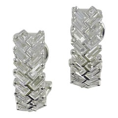 1.36 Carat Total Weight Diamond Earrings in 18 Karat White Gold