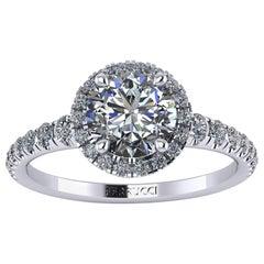 1.36 GIA Certified Round Brilliant Cut Diamond in Platinum 950 Engagement Ring