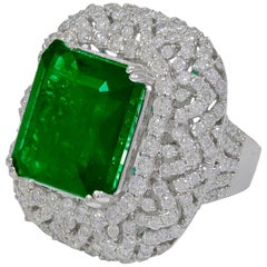 13.62 Carat  Emerald Cut  Emerald And 4.5 Carat Diamond 18K Gold Cocktail Ring