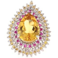 13.64 Carat Citrine Sapphire Diamond 14 Karat White Gold Cocktail Ring