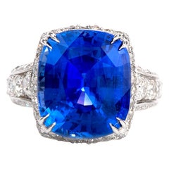 13.64 Carat Burma Blue Sapphire Gia Natural No Heat Diamond White Gold Ring
