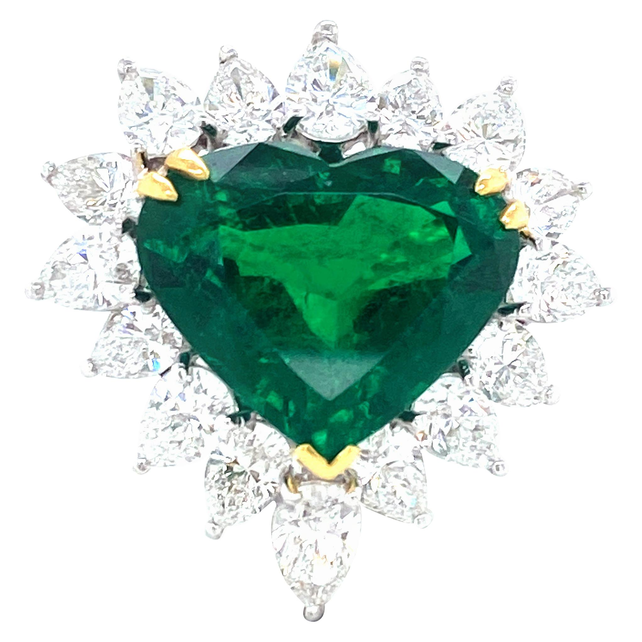 13.66 Carat Gubelin Certified Heart Shaped Emerald and Diamond Engagement Ring