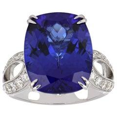 13.67 Carat Cushion Tanzanite Ring with Diamonds 18 Karat White Gold