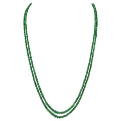 136ct Fine Emerald Beads 2 Line Necklace with 14 Kt Yellow Gold Clasp Adjustable