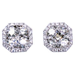 1.37 Carat 14 Karat Cluster Center Diamond Earring with Halo