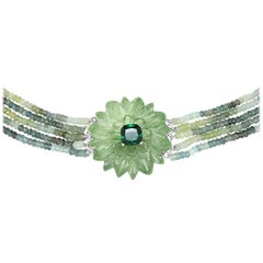 137 Carat Carved Green Amethyst Flower Necklace