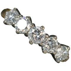 1.37 Carat Diamond 18 Carat Gold Five-Stone Stack Ring