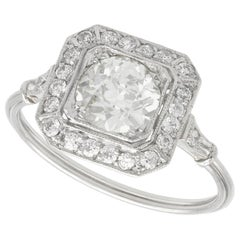 1.37 Carat Diamond and Platinum Cocktail Ring