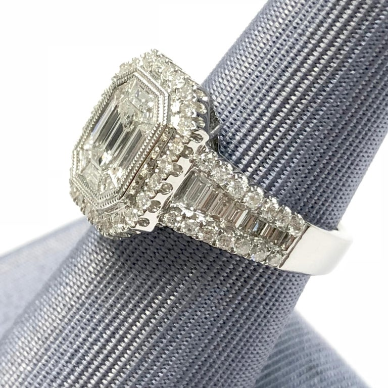 Baguette Cut DiamondTown 1.37 Carat Diamond Engagement Bridal Cluster Ring in 18 K White Gold For Sale