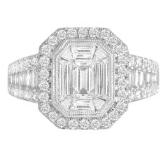 DiamondTown 1.37 Carat Diamond Engagement Bridal Cluster Ring in 18 K White Gold