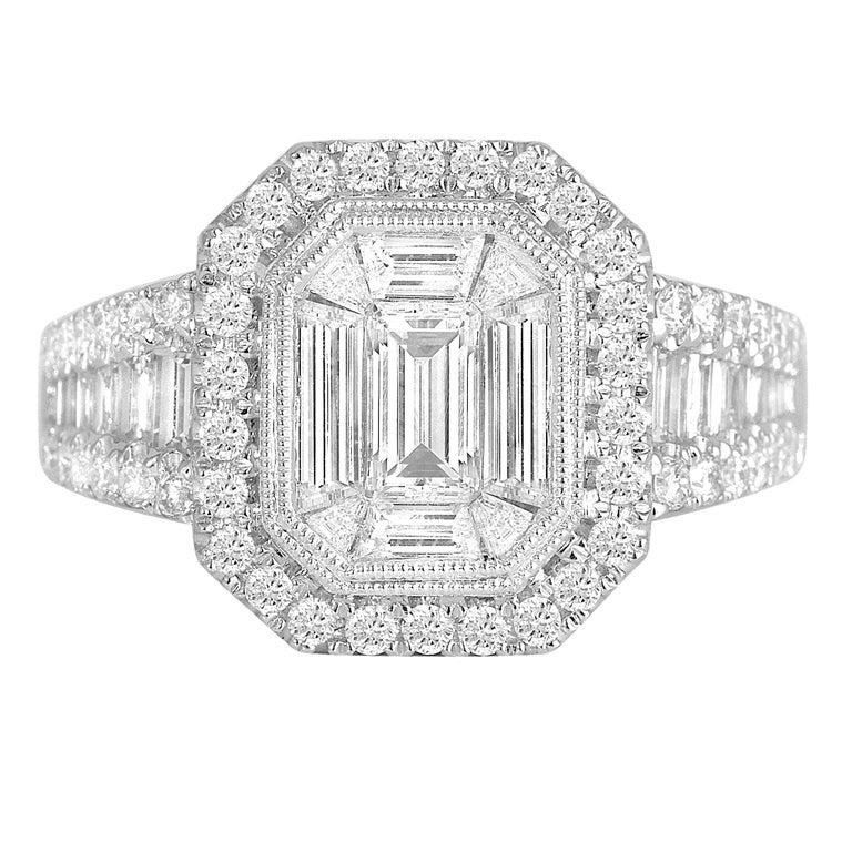 DiamondTown 1.37 Carat Diamond Engagement Bridal Cluster Ring in 18 K White Gold For Sale