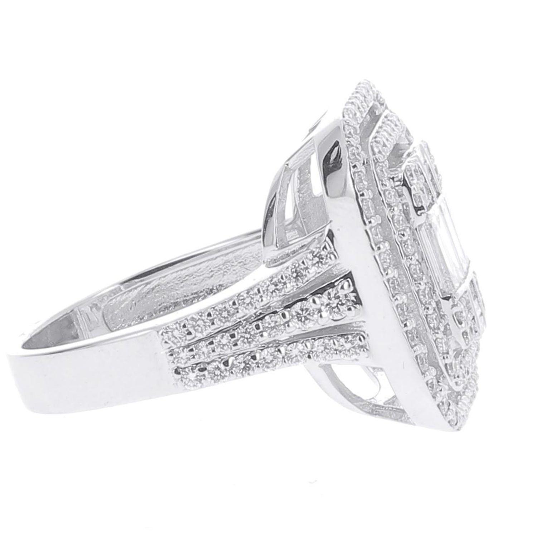 d86f10bbc99e74 1.37 Carat Emerald Cut Illusion Diamond Ring Baguette-Cut-Diamond 18 Karat  Gold For Sale at 1stdibs