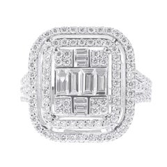 1.37 Carat Emerald Cut Illusion Diamond Ring Baguette-Cut-Diamond 18 Karat Gold