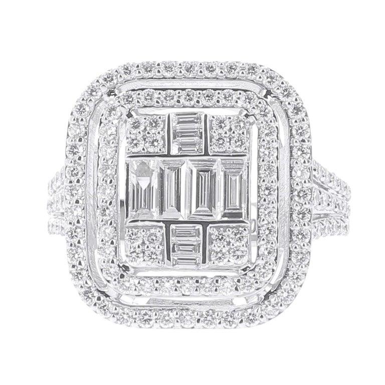 ccbd7a981ece58 1.37 Carat Emerald Cut Illusion Diamond Ring Baguette-Cut-Diamond 18 Karat  Gold For