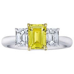 1.37 Carat Emerald Cut Yellow Sapphire and Diamond Platinum and 18k Ring