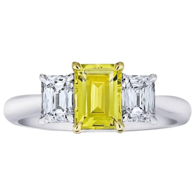 1.37 Carat Emerald Cut Yellow Sapphire and Diamond Platinum and 18k Ring For Sale