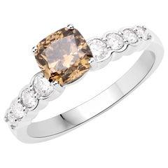 1.37 Carat Fancy Greenish Brown Diamond 18 Karat White Gold Bridal Ring