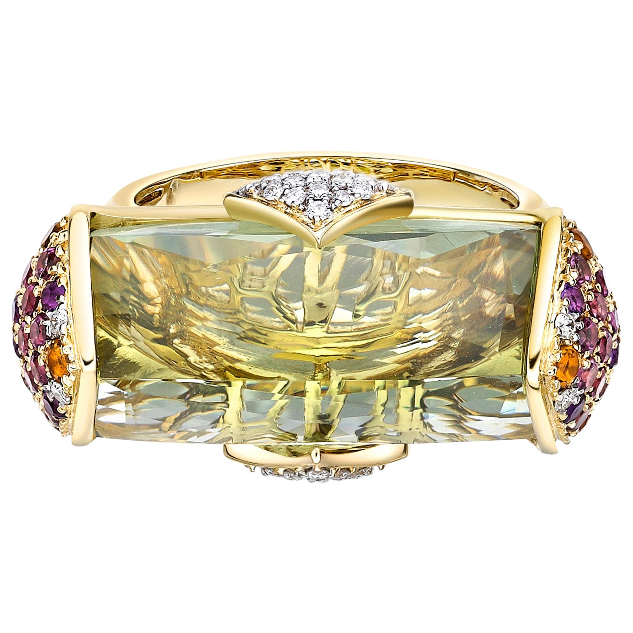 13.7 Carat Green Amethyst and Diamond Ring in 18 Karat Yellow Gold