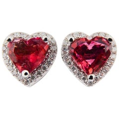 1.37 Carat Heart Shaped Vivid Pink Tourmaline and Diamond Stud Earring