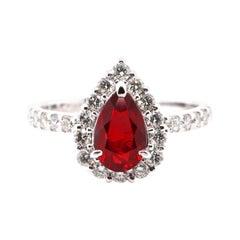 1.37 Carat, Natural, Burmese, Pigeon's Blood Ruby and Diamond Ring Set Platinum