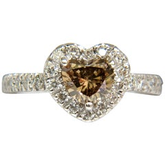 1.37 Carat Natural Fancy Bright Brown Heart Cut Halo Diamond Ring 14 Karat VS