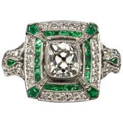 1.37 Carat Old Mine Cut Diamond Art Deco Style Ring Emerald Platinum