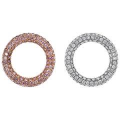 1.37 Carat Pink Diamond and 1.42 Carat White Diamond Circle of Hope Earring