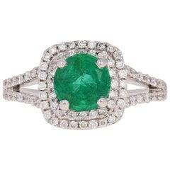 1.37 Carat Round Brilliant Emerald and Diamond Halo Ring, 14 Karat White Gold