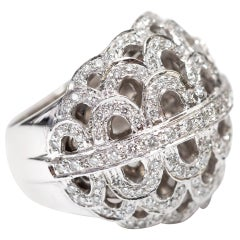 1.37 Carat Round Diamond 18 Karat White Gold Fancy Cocktail Contemporary Ring